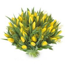 Bukiet 35 Tulipanów Żółtych z dekoracją
