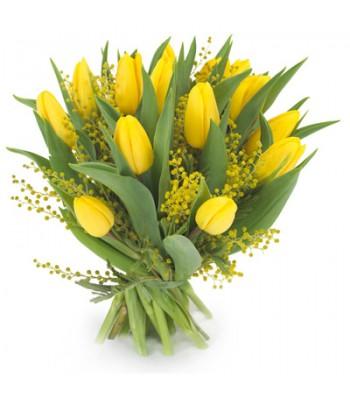 Bukiet 15 Tulipanów Żółtych z dekoracją